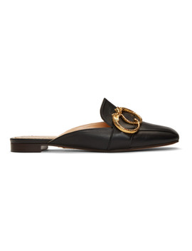 Black Two Ring Leopard Slippers by Charlotte Olympia