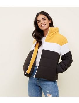 Cameo Rose Yellow Colour Block Puffer Coat by New Look