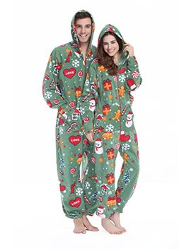 Xmascoming Women's & Men's Hooded Fleece Onesies One Piece Pajamas by Xmascoming