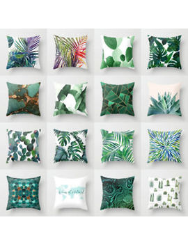 Tropical Green Plant Leaves Flower Cushion Cover Pillow Case Home Decorate by Unbranded