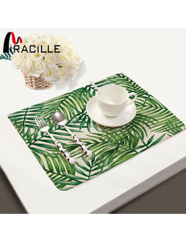 Miracille Tropical Plant Leaves Print Placemat Table Mat Cotton Linen Dishware by Miracille