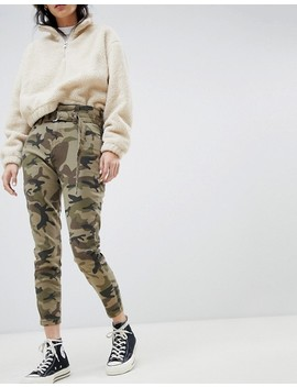Bershka High Waist Tie Detal Mom Pants In Camo Khaki by Bershka