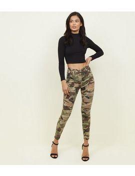 Khaki Camo Ripped Skinny Jenna Jeans by New Look