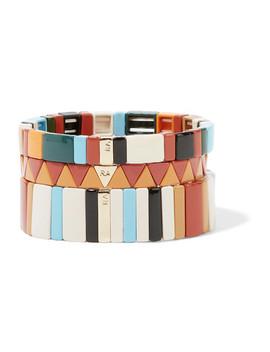 Canyon Set Of Three Enamel Bracelets by Roxanne Assoulin