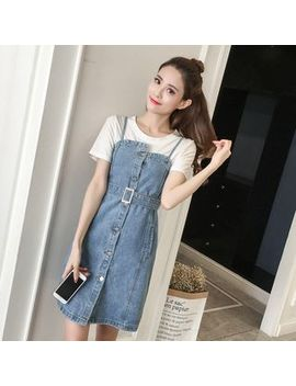Frais   Buttoned Denim Pinafore Dress by Frais