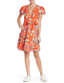 Floral Flutter Sleeve Wrap Dress by Marc Jacobs