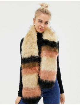 New Look Faux Fur Stripe Stole by New Look