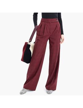 High Waisted Wide Leg Pant With Asymmetrical Button In Plaid by J.Crew
