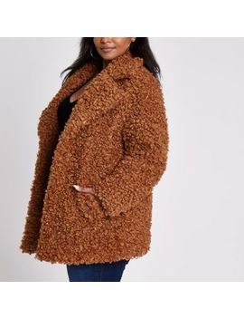 Plus Brown Faux Fur Coat by River Island