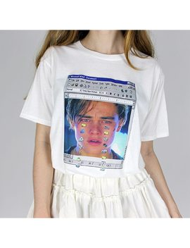 2018 New Women Ulzzang White Tshirt Tee Top Funny Printed Leonardo Di Caprio Leo Titanik Crying Windows 98 Meme Harajuku by Jo's Magia Box