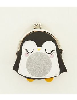 Black Penguin Clip Top Coin Purse by New Look