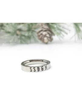 Ssdgm Ring, Murderino, My Favorite Murder, Mfm Stackable Ring, Stay Sexy Dont Get Murdered, Feminist Jewelry, Hand Stamped Stacking Ring by Etsy