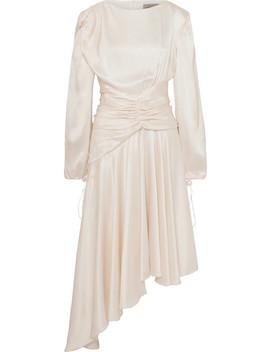 Amber Ruched Silk Satin Midi Dress by Preen By Thornton Bregazzi