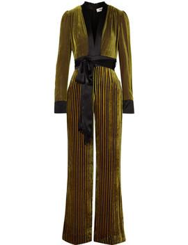 Satin Trimmed Striped Devoré Velvet Jumpsuit by Diane Von Furstenberg