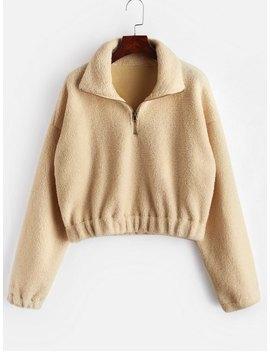 Half Zip Plain Faux Fur Sweatshirt   Tan S by Zaful