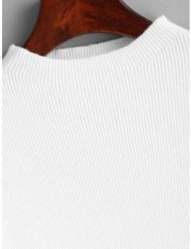 Drop Shoulder Plain Lantern Sleeve Sweater   White by Zaful