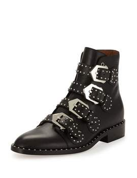 Studded Leather Ankle Boot, Black by Neiman Marcus