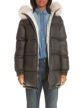 Mr & Mrs Italy Genuine Fox Fur Trim Down Fill Puffer Coat by Mr And Mrs Italy