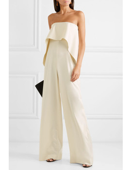 Cadenza Ruffled Bonded Satin Jumpsuit by Solace London