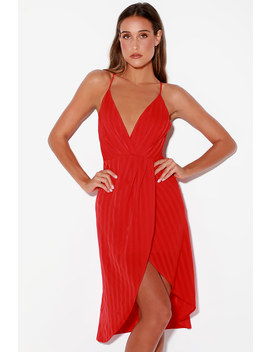 Panache Red Backless Midi Dress by Lulus