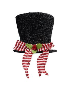Holiday Time Top Hat Tree Topper Black Metallic With Red And White Scarf by Holiday Time