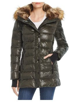 Faux Fur Trim Hooded Puffer Jacket   100 Percents Exclusive by Aqua