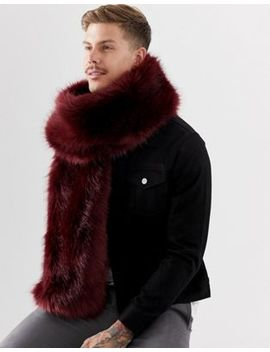Asos Design Faux Fur Scarf In Burgundy by Asos Design