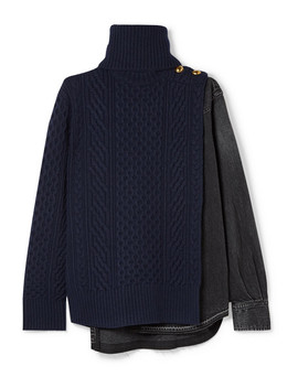 Cable Knit Wool And Denim Turtleneck Sweater by Sacai