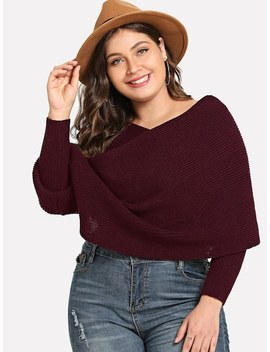 Plus Crisscross Poncho Sweater by Shein