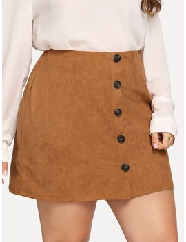 Plus Button Front Suede Skirt by Sheinside