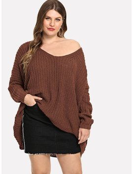Plus Oversized Solid Sweater by Shein