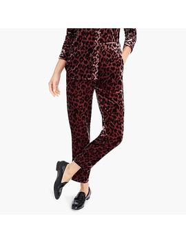 Petite Pull On Easy Pant In Rose Leopard Velvet by J.Crew