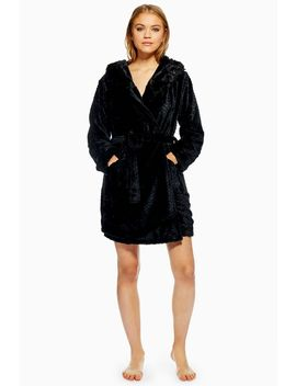 Black Hooded Faux Fur Robe by Topshop