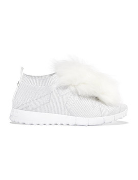 Norway Pompom Embellished Metallic Stretch Knit Sneakers by Jimmy Choo