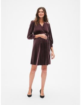 Maternity Velvet Tie Waist Crossover Dress by Gap