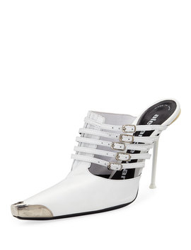 Minna Strappy High Heel Metal Toe Goatskin Mules by Alexander Wang