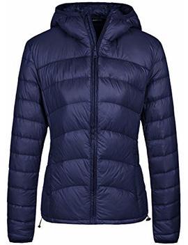 Wantdo Women's Packable Lightweight Warm Chevron Slim Fit Down Jacket Hood by Wantdo
