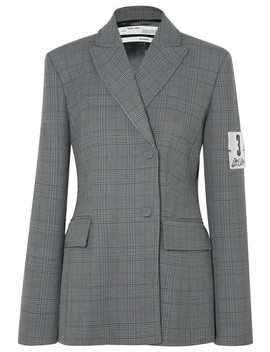 Galles Appliquéd Checked Woven Blazer by Off White
