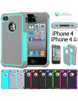 Shock Proof Rubber Matte Hard Case Cover For I Phone 4 4 S Screen Protector by Globalhotsale