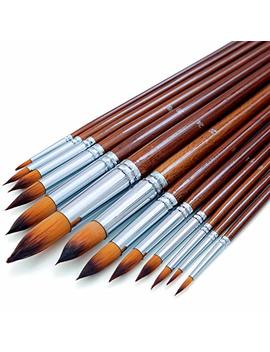 Artist Watercolor Paint Brushes Set 13pcs   Round Pointed Tip Soft Anti Shedding Nylon Hair   Detail Paint Brush For Watercolor, Acrylics, Ink, Gouache, Oil And Tempera by Dugato
