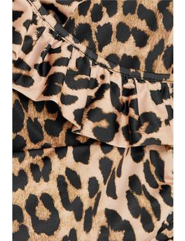 Avalon Ruffled Leopard Print Halterneck Swimsuit by Ganni