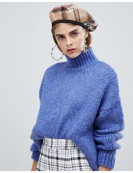 Bershka High Neck Oversized Knitted Jumper In Blue by Bershka