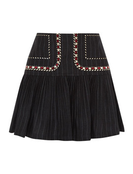 Jessie Embroidered Pinstriped Linen Mini Skirt by Isabel Marant Étoile