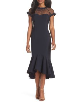 Illusion Neck Crepe Trumpet Dress by Maggy London