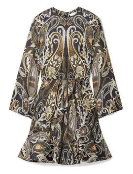 Paisley Print Silk Blend Lurex Mini Dress by Chloé