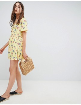 Asos Shirred Waist Tea Dress With Frill Sleeve In Floral Print by Asos Collection