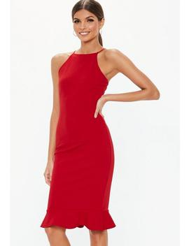 Red Scuba Square Neck Frill Hem Midi Dress by Missguided