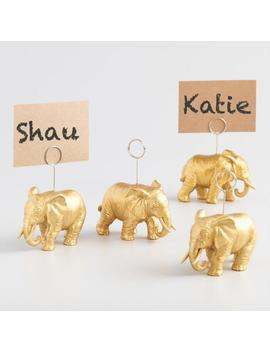 Gold Elephant Place Card Holders Set Of 4 by World Market