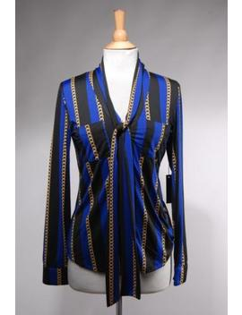Nwt Bcbg Maxazria Black Blue Poly Striped Gold Chain Long Sleeve Blouse Size M by Bcbgmaxazria