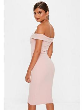 Rose V Front Bardot Midi Dress by Missguided